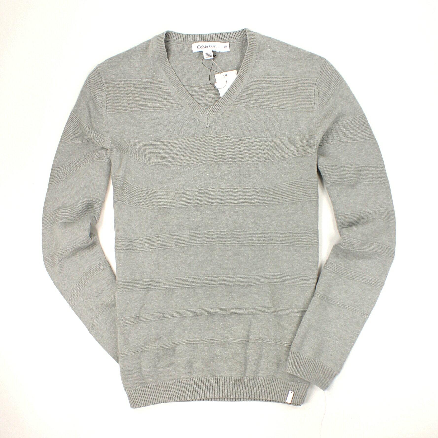 美國百分百【全新真品】Calvin Klein 針織衫 CK 線衫 上衣 棉質毛衣 灰 素面 條紋 V領 男衣 S M L號 B522