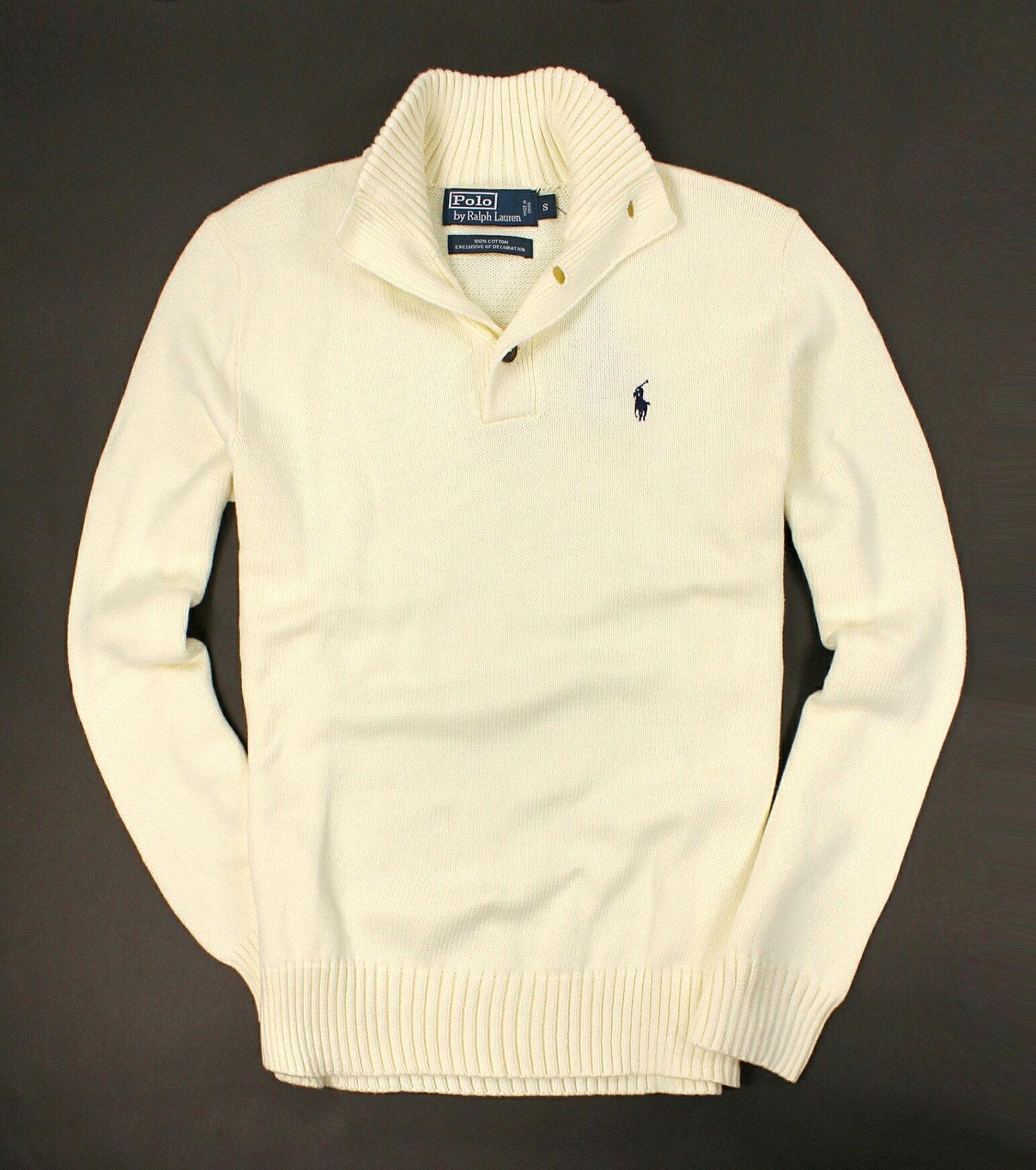 美國百分百【全新真品】Ralph Lauren 針織衫 RL 線衫 棉質毛衣 Polo 小馬 白 立領 鈕扣 男 S M號 A068