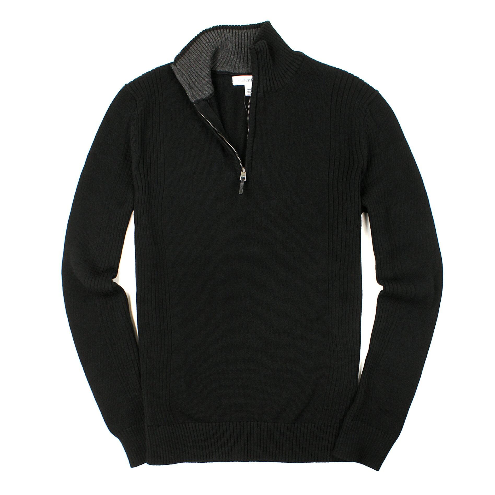 美國百分百【全新真品】Calvin Klein 針織衫 CK 線衫 上衣 棉質毛衣 黑 大尺 半拉 皮革 男 S M L XL B665