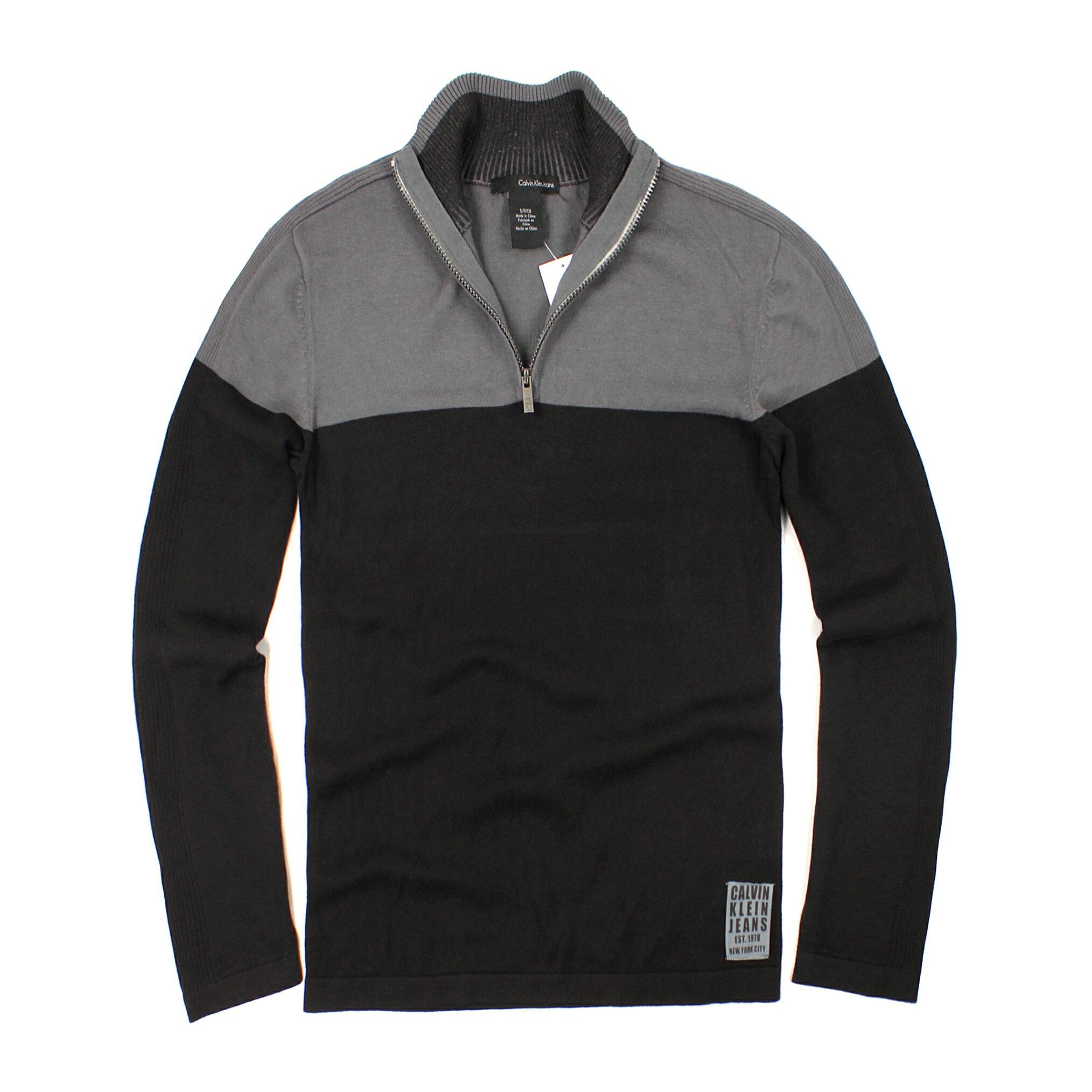美國百分百【全新真品】Calvin Klein 針織衫 CK 線衫 棉質毛衣 黑 灰 半拉 純棉 立領 保暖 男款 S號 B524