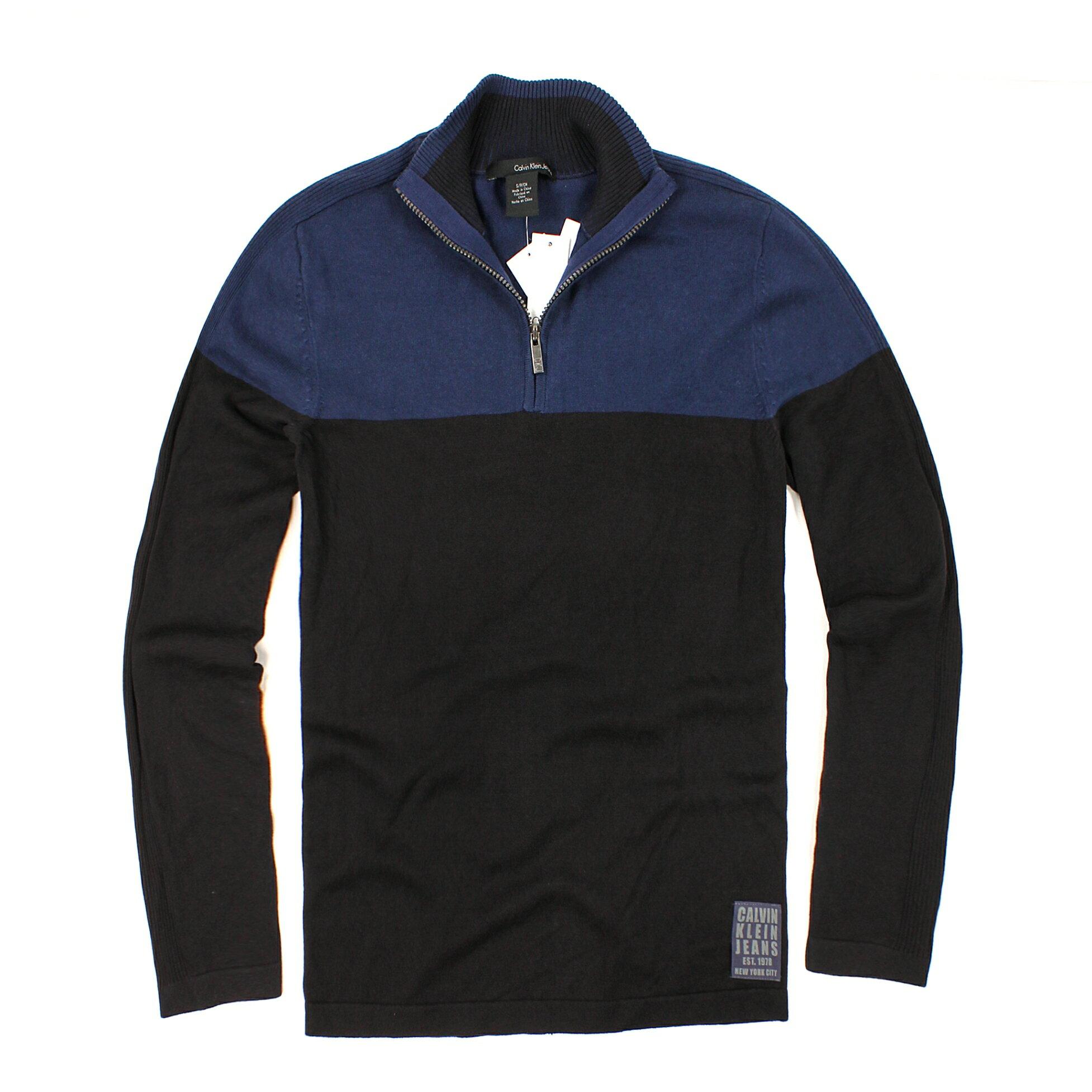 美國百分百【全新真品】Calvin Klein 針織衫 CK 線衫 棉質毛衣 藍 黑 半拉 立領 保暖 彈性 男 M號 B524