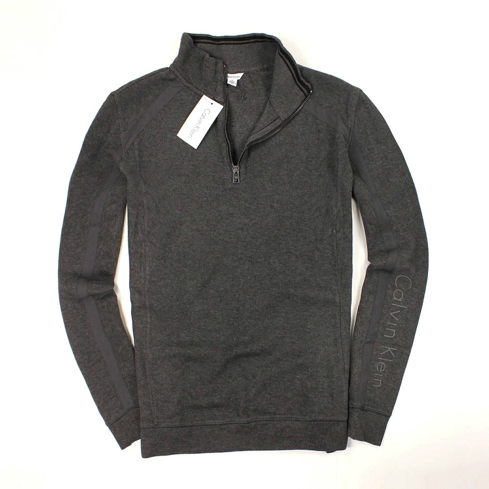 美國百分百【全新真品】Calvin Klein 針織衫 CK 棉質毛衣 線衫 鐵灰 半拉 彈性 純棉 Logo 男款 M號 B666