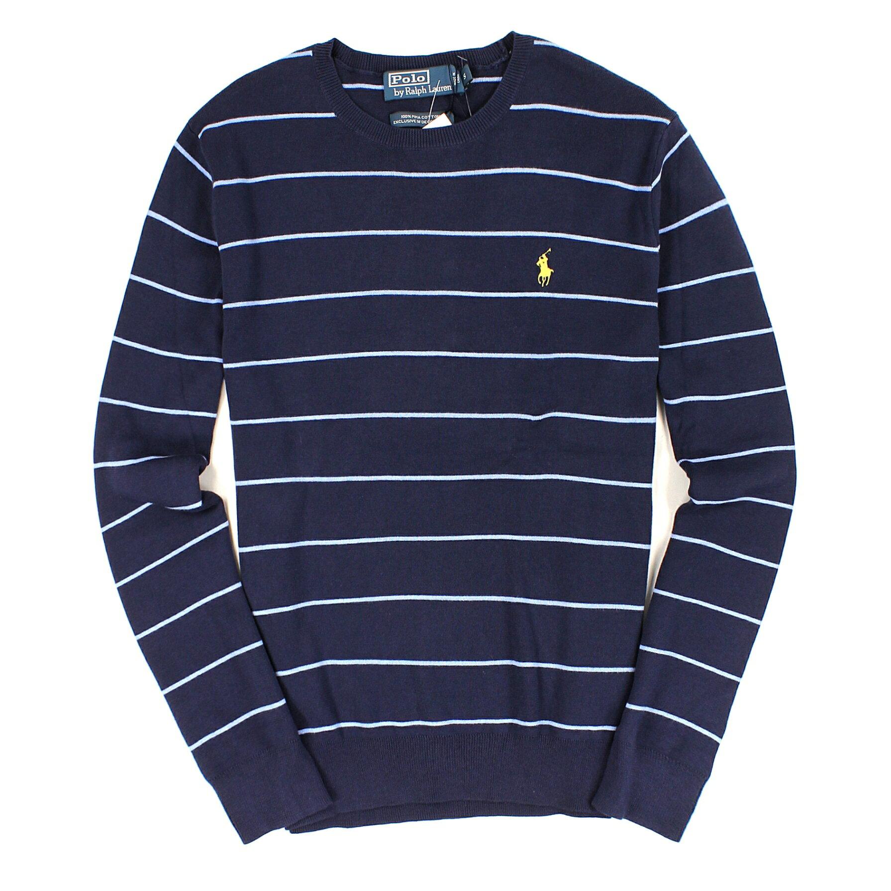美國百分百【全新真品】Ralph Lauren 針織衫 RL 棉質毛衣 Polo 小馬 深藍 條紋 純棉 男 S號 C006