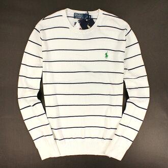 美國百分百【全新真品】Ralph Lauren 針織衫 RL 棉質毛衣 Polo 小馬 白 條紋 純棉 免運 男 M號 C006
