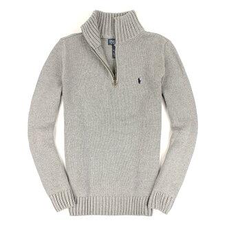美國百分百【全新真品】Ralph Lauren 針織衫 RL 棉質毛衣 Polo 小馬 灰 半拉 厚棉 立領 男 S號 C004