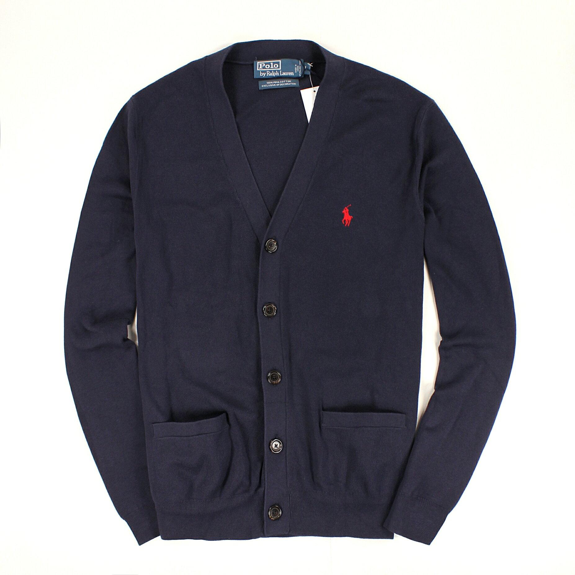 美國百分百【全新真品】Ralph Lauren 針織衫 RL 外套 罩衫 棉質毛衣 Polo 小馬 深藍 口袋 男 L號 C080