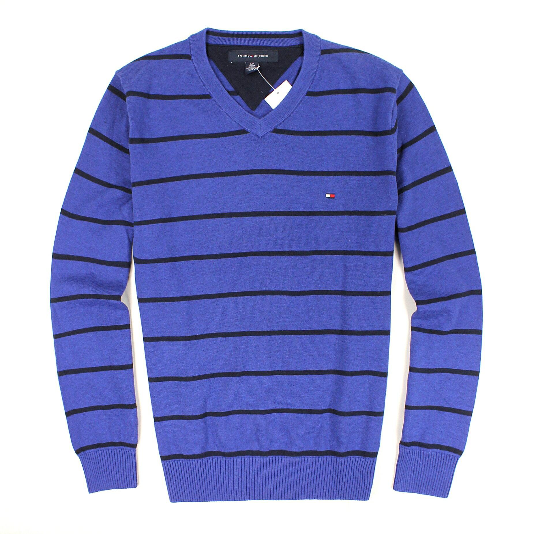 美國百分百【全新真品】Tommy Hilfiger 針織衫 TH 線衫 棉質毛衣 寶藍 條紋 純棉 V領 免運 男 S B610
