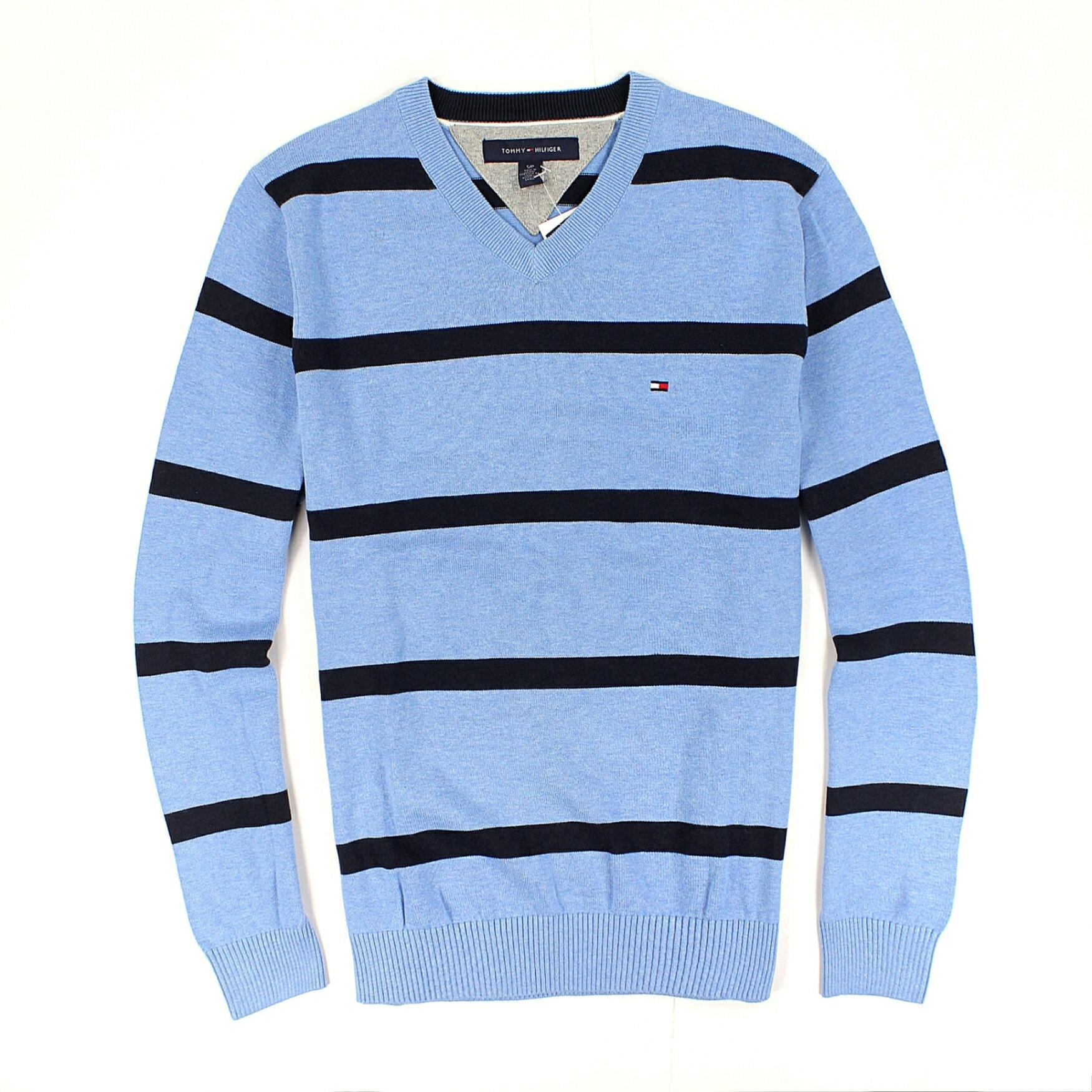 美國百分百【全新真品】Tommy Hilfiger 針織衫 TH 線衫 棉質毛衣 淺藍 條紋 V領 純棉 免運 男 S號 B615