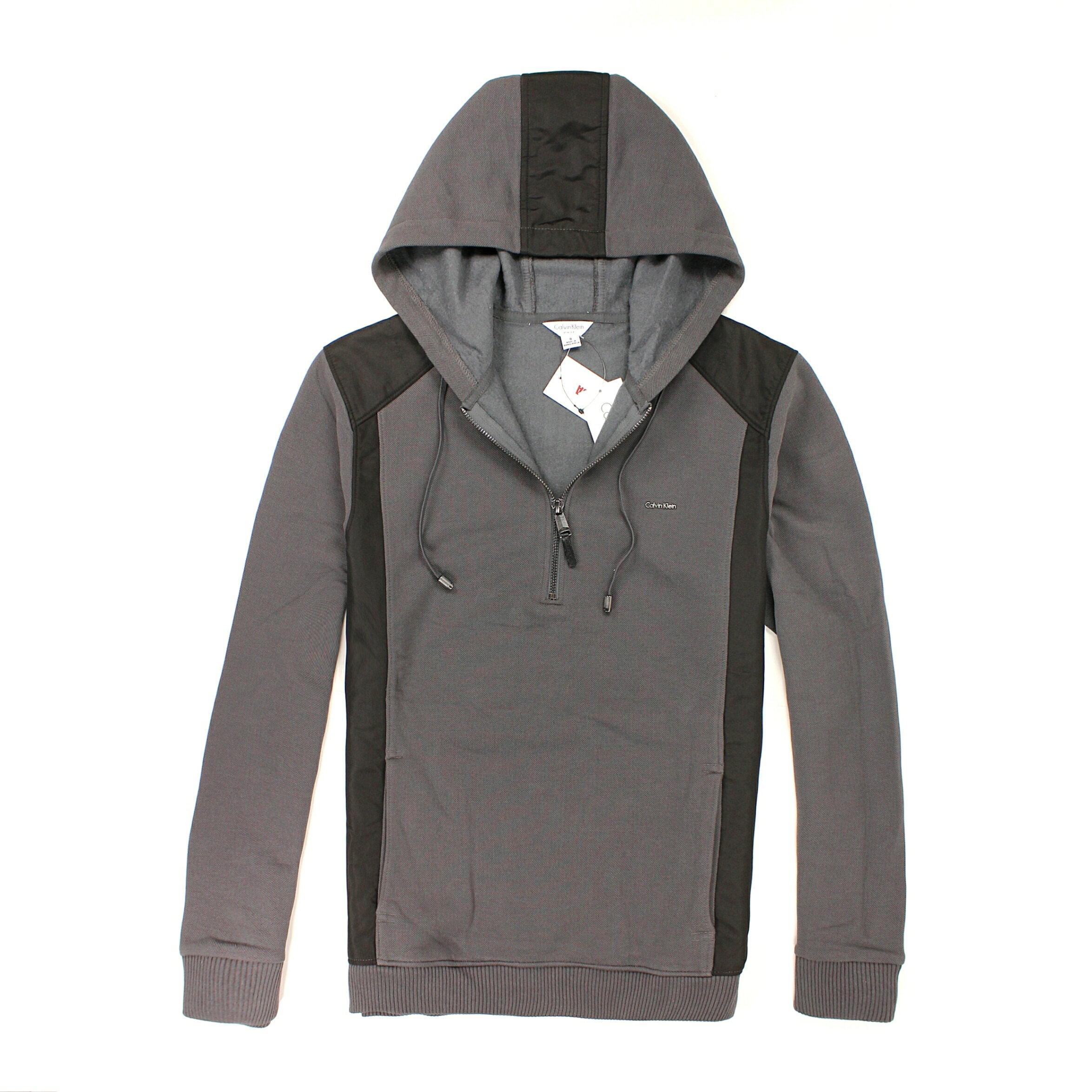 美國百分百【全新真品】Calvin Klein 連帽T CK 針織 夾克 線衫 鐵灰 半拉 皮革 彈性 男 L號 B525