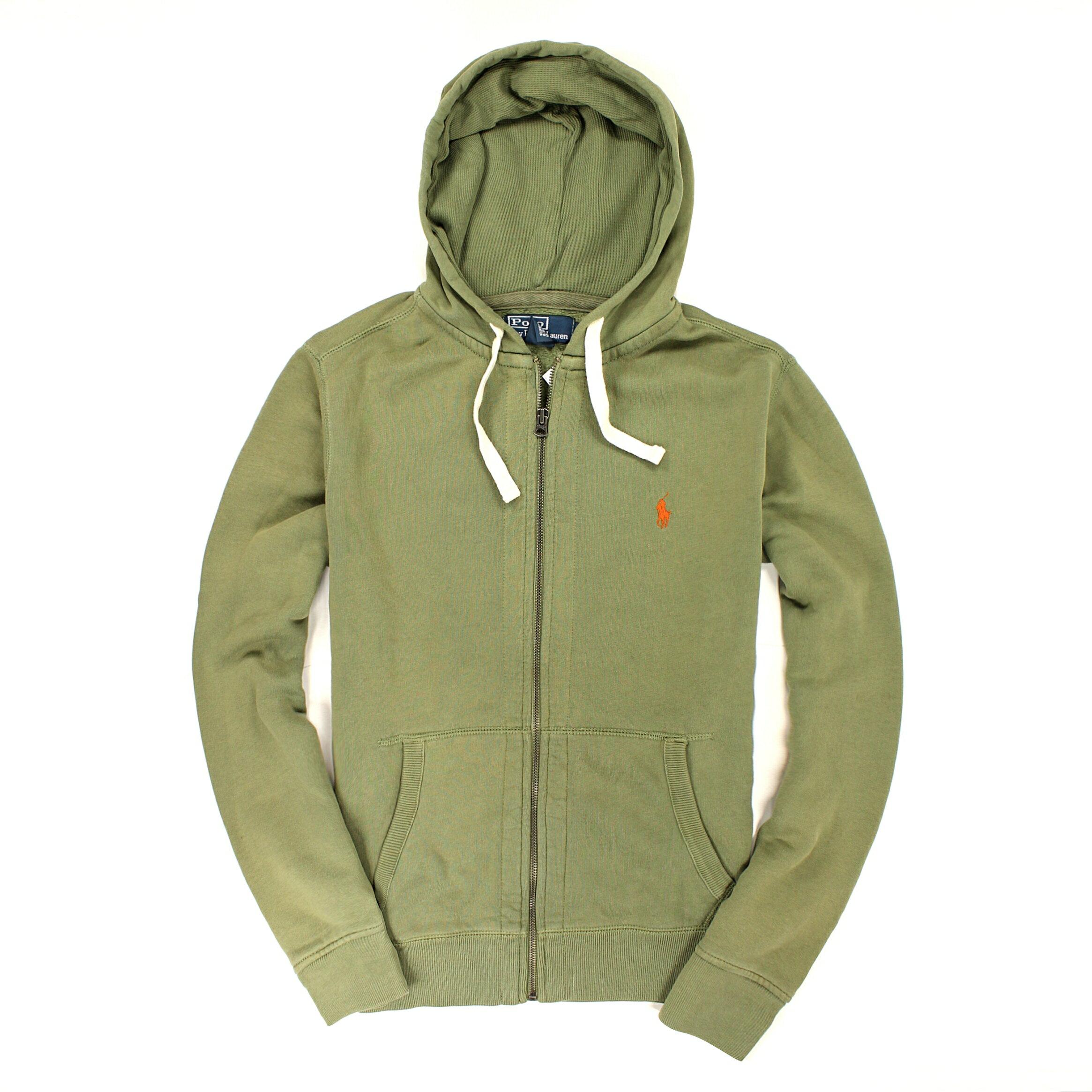 美國百分百【全新真品】Ralph Lauren 外套 RL 連帽外套 夾克 Polo 小馬 綠灰 棉質 經典 男 M號 B034