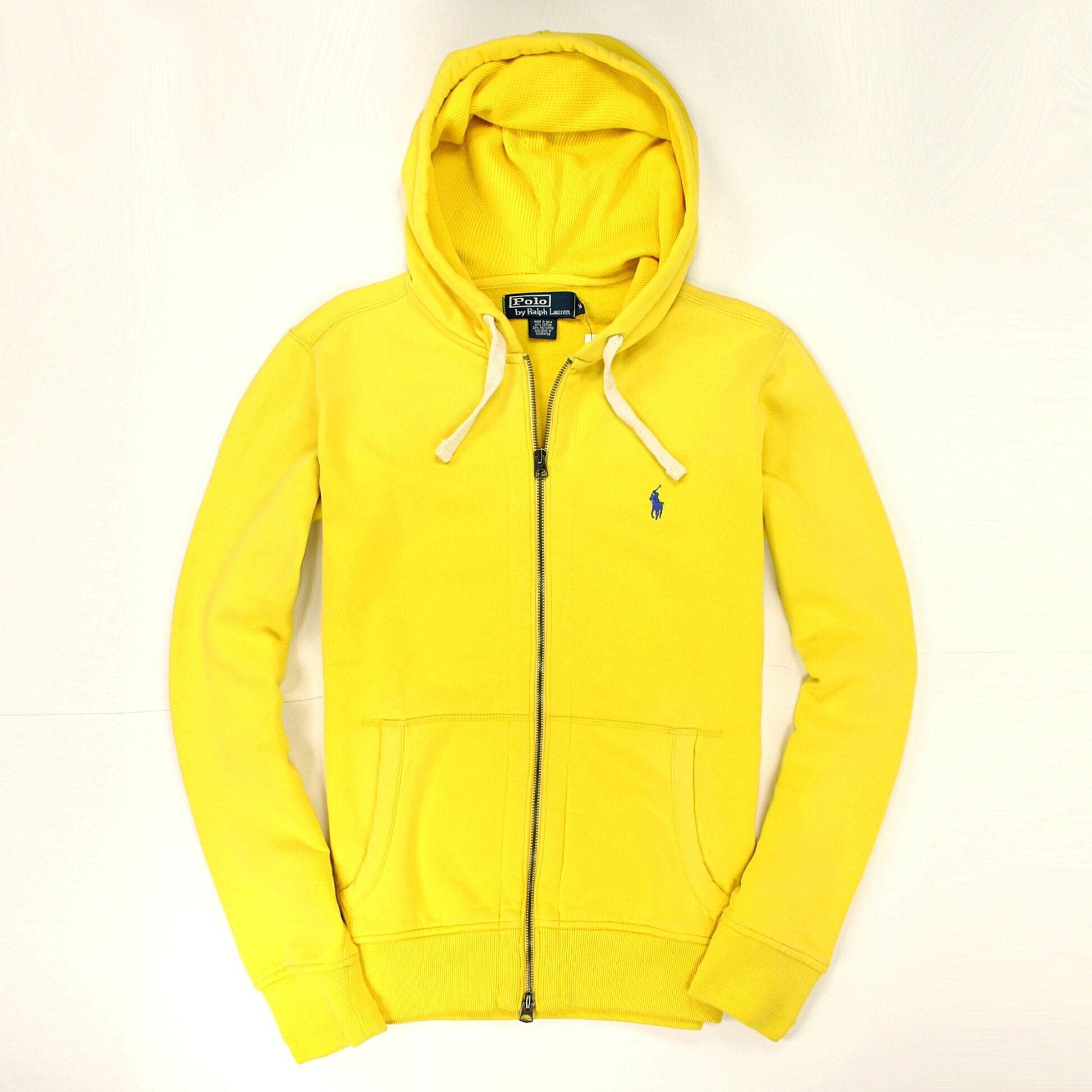 美國百分百【全新真品】Ralph Lauren 外套 RL 連帽外套 夾克 Polo 小馬 黃 棉質 雙頭 男 M B034