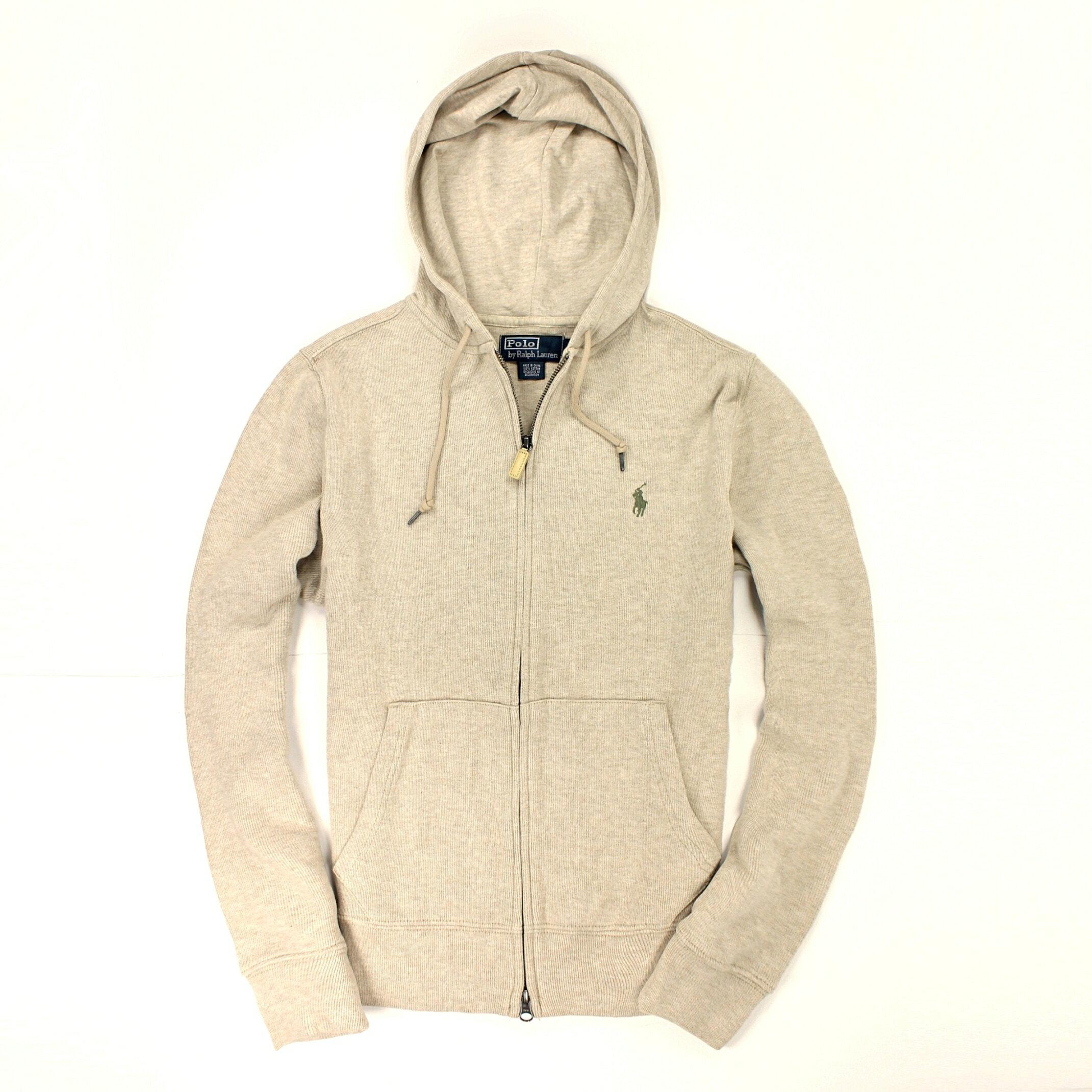 美國百分百【全新真品】Ralph Lauren 外套 RL 連帽外套 夾克 Polo 小馬 米白 皮革 雙頭 男 S號 B585