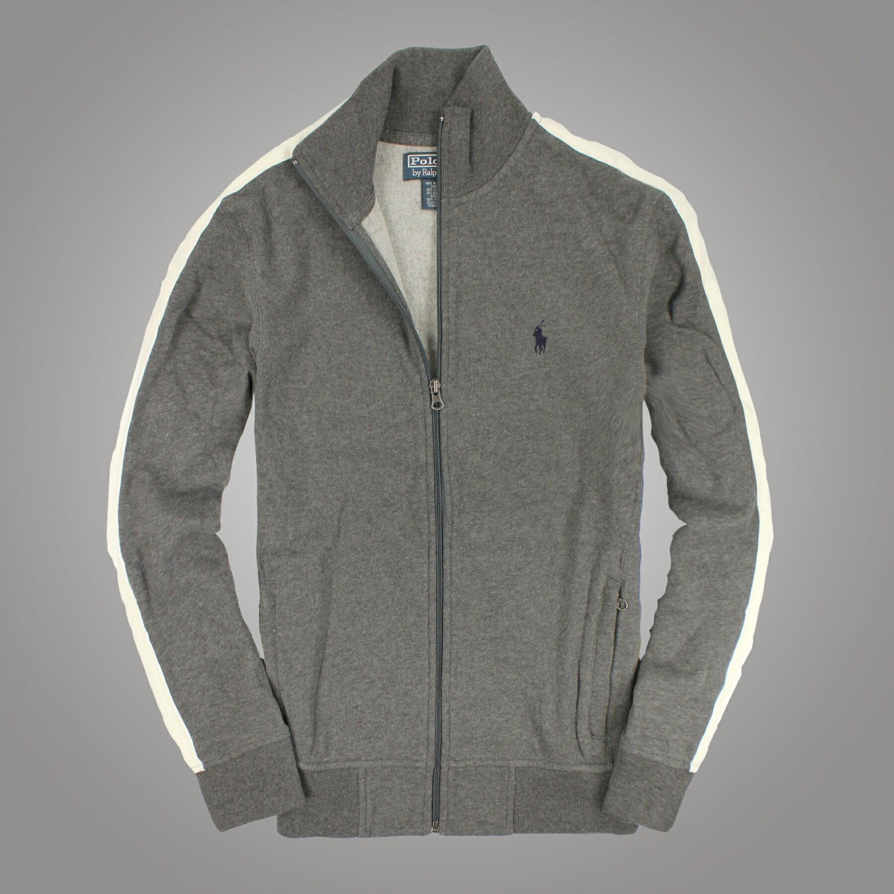 美國百分百【全新真品】Ralph Lauren 外套 RL 夾克 立領 Polo 小馬 灰 純棉 大尺 男 S M L XL XXL B536