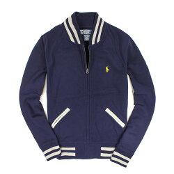美國百分百【全新真品】Ralph Lauren 外套 RL 夾克 立領 Polo 小馬 條紋 棉質 口袋 深藍 男 S M號
