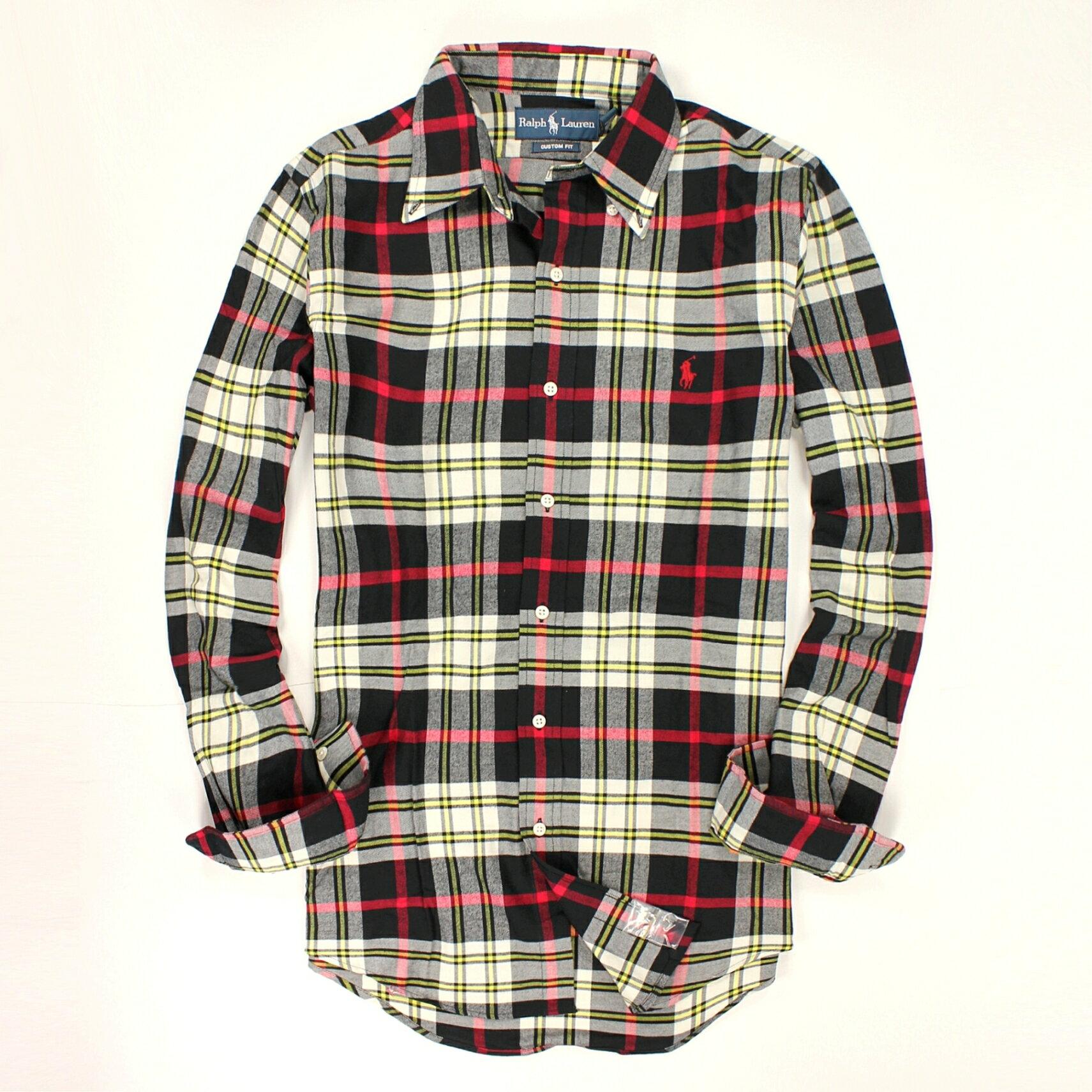 美國百分百【全新真品】Ralph Lauren 襯衫 RL 上衣 長袖 Polo 小馬 黑 紅 白 格紋 厚 純棉 男 XS S號