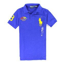 美國百分百【全新真品】Ralph Lauren Polo衫 RL 短袖 上衣 休閒衫 Polo 大馬 寶藍 旗幟 純棉 男 XS