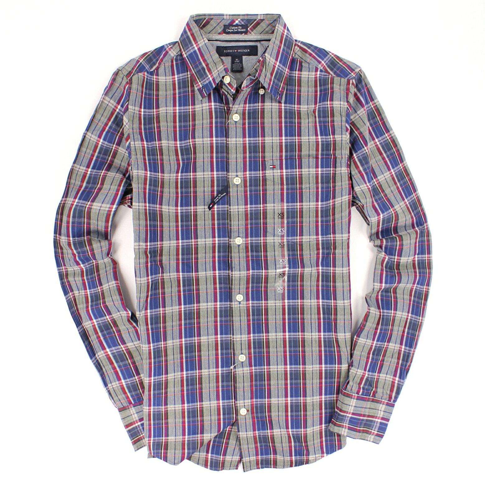 美國百分百【全新真品】Tommy Hilfiger 襯衫 TH 長袖 上衣 藍灰 格紋 純棉 口袋 休閒 男衣 XXS號