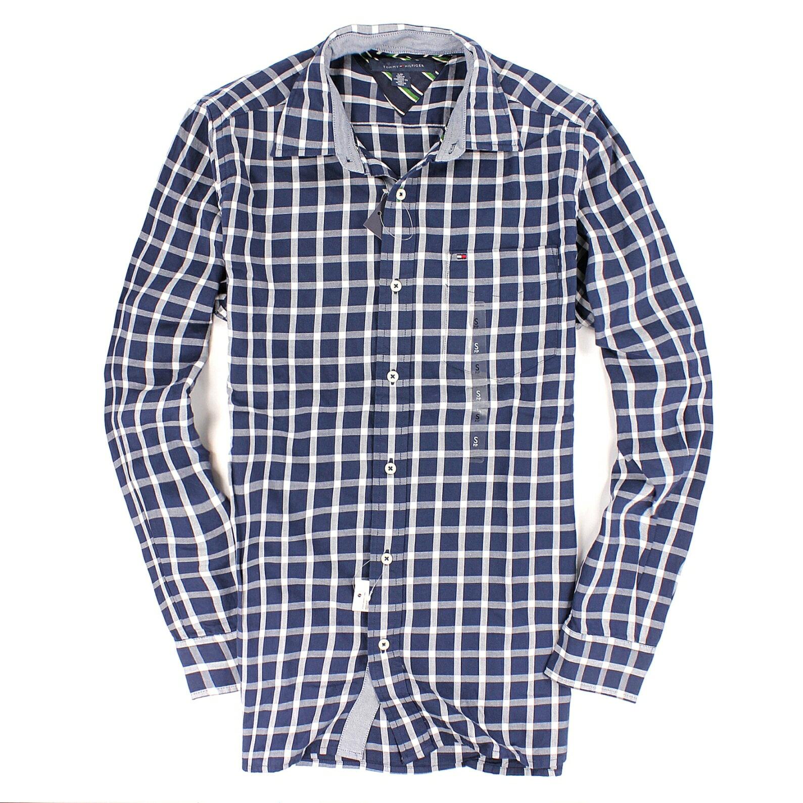 美國百分百【全新真品】Tommy Hilfiger 襯衫 TH 長袖 上衣 藍 格紋 純棉 口袋 休閒 彈性 男衣 S號