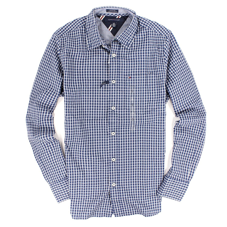 美國百分百【全新真品】Tommy Hilfiger 襯衫 TH 長袖 上衣 藍 格紋 純棉 口袋 休閒 上班 男衣 XS號