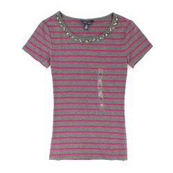美國百分百【全新真品】Tommy Hilfiger T恤 TH 短袖 T-shirt 上衣 灰色 粉紅 條紋 亮片 寶石 女衣 XS號
