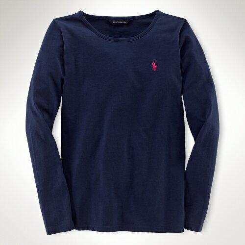 美國百分百【全新真品】Ralph Lauren T恤 RL 長袖 T-shirt 上衣 Polo 小馬 深藍 素面 純棉 女 XS S號