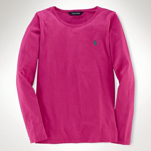 美國百分百【全新真品】Ralph Lauren T恤 RL 長袖 T-shirt 上衣 Polo 小馬 粉紅 素面 純棉 女 XS S號
