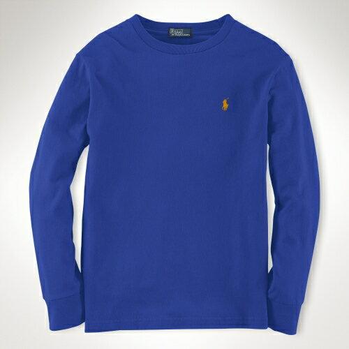 美國百分百【全新真品】Ralph Lauren T恤 RL 長袖 T-shirt 上衣 Polo 小馬 寶藍 素面 純棉 男 XS S號