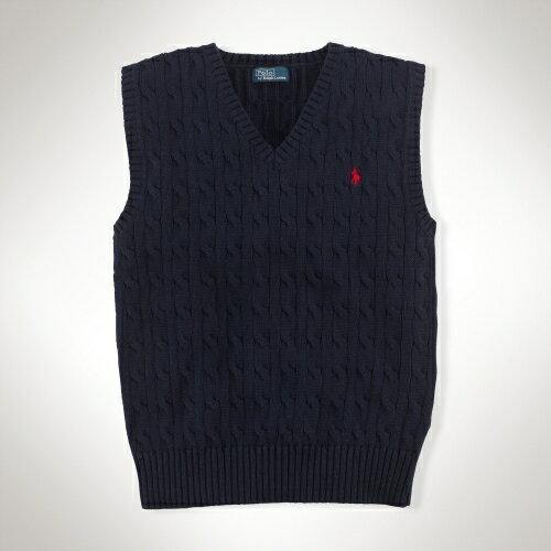 美國百分百【全新真品】Ralph Lauren 針織衫 RL 背心 上衣 線衫 Polo 小馬 深藍 厚棉 螺紋 素面 男 S號