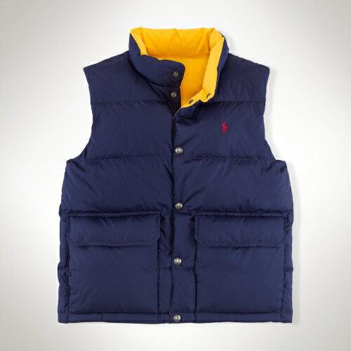 美國百分百【全新真品】Ralph Lauren 背心 RL 上衣 羽絨 Polo 小馬 藍 黃 兩面 雙口袋 銅釦 男 XS號