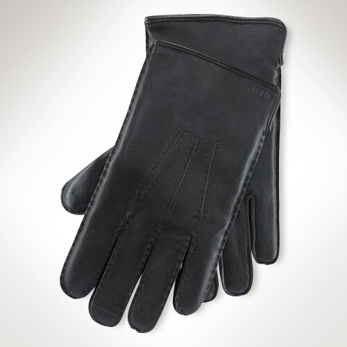 美國百分百【全新真品】Ralph Lauren 手套 RL 配件 小牛皮 喀什米爾 真皮 Polo 保暖 男 黑 S M L號 A646