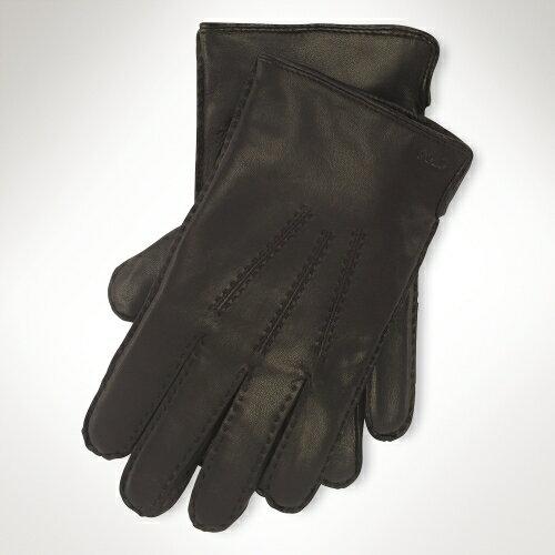 美國百分百【全新真品】Ralph Lauren 手套 RL 配件 小牛皮 喀什米爾 真皮 Polo 男 保暖 深咖 M L號 A646