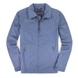 美國百分百【全新真品】Tommy Hilfiger 外套 TH 夾克 立領 海藍 帆布 硬挺 純棉 仿木扣 男衣 XS號