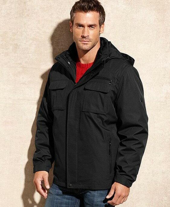 美國百分百【全新真品】Calvin Klein 外套 CK 連帽外套 夾克 黑 防寒 防風 防水 兩件式 3way 男 S號