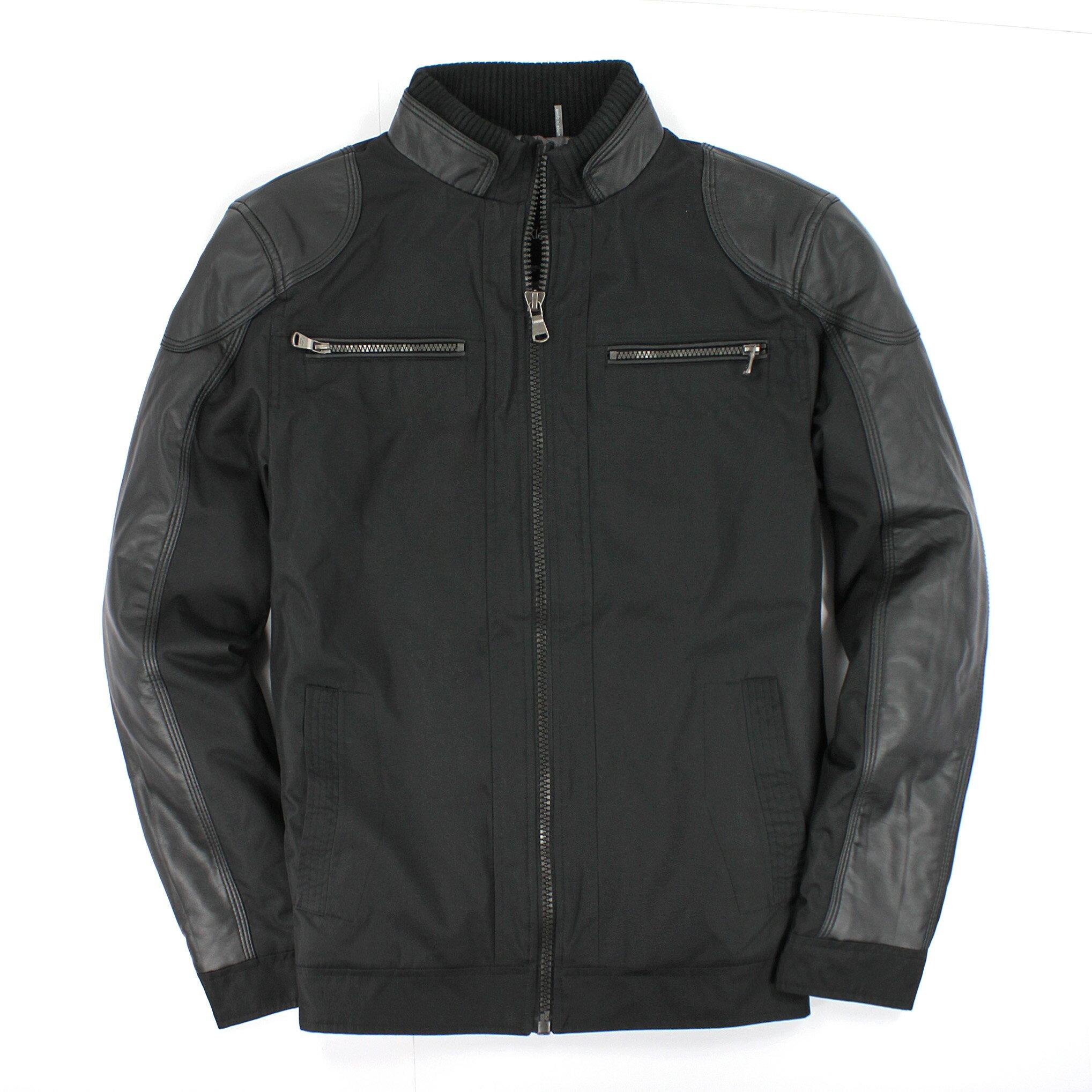 美國百分百【全新真品】Calvin Klein 外套 CK 夾克 皮衣 黑 防風 防水 鋪棉 皮革 騎士 保暖 男衣 S M號