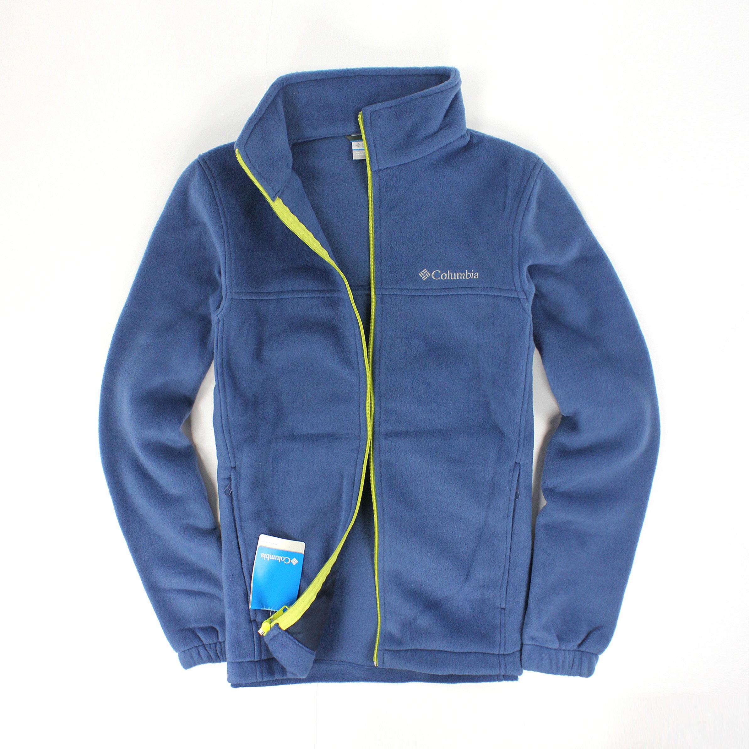 美國百分百【全新真品】Columbia 外套 上衣 夾克 刷毛外套 哥倫比亞 藍 保暖 立領 輕巧 男衣 S號
