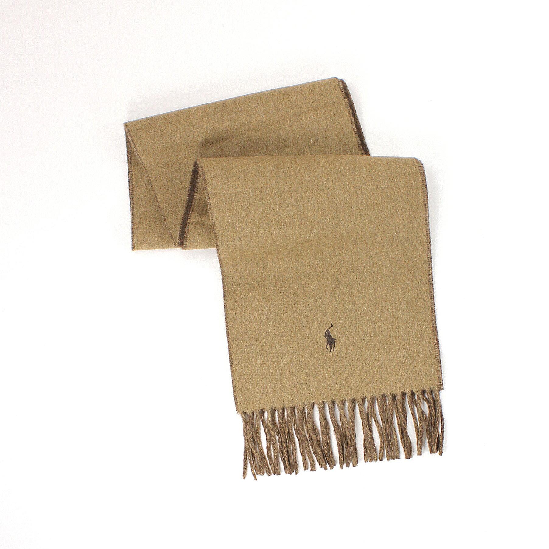 美國百分百【全新真品 】Ralph Lauren 圍巾 RL 配件 披巾 Polo 小馬 駝 咖 羊毛 雙面 保暖 男 女