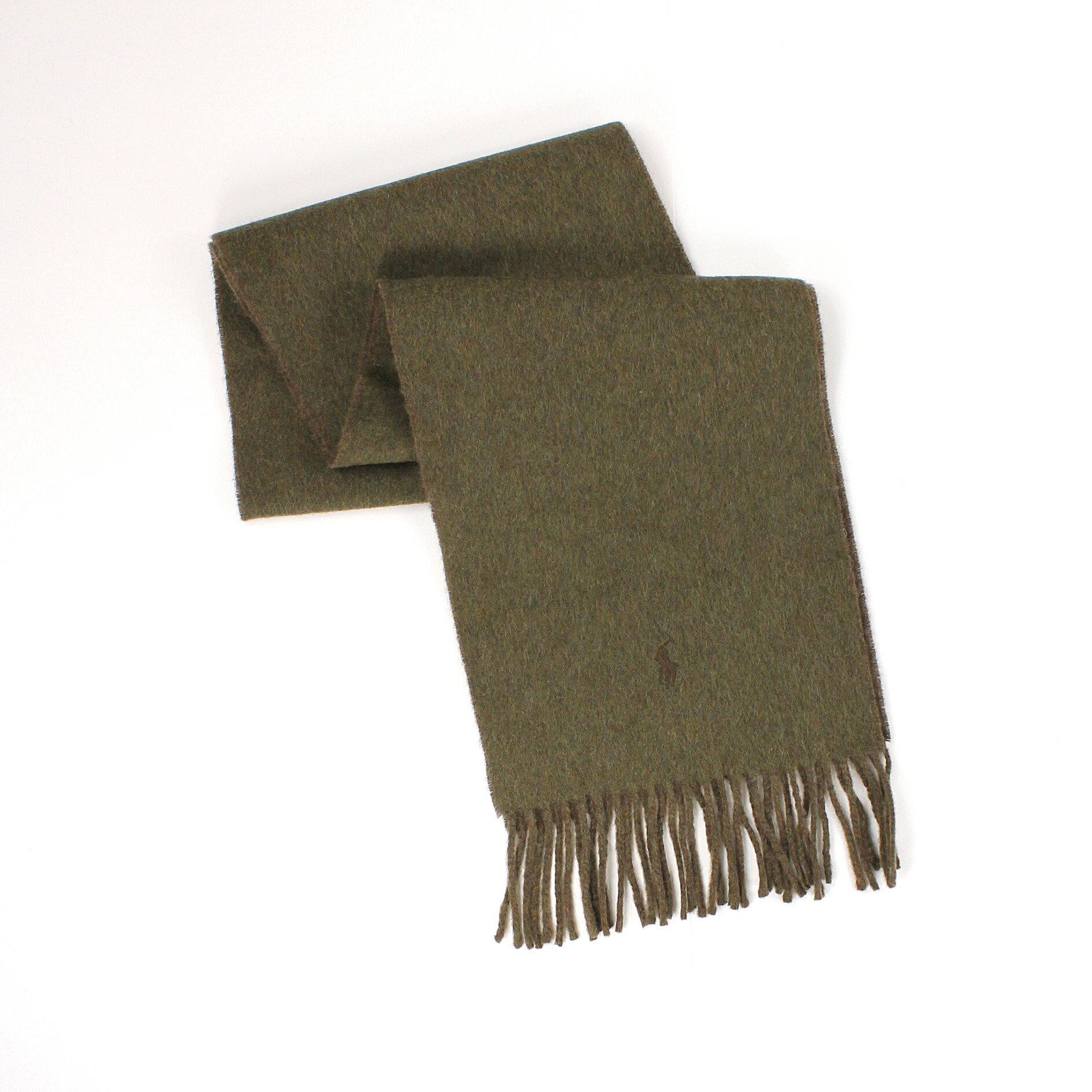 美國百分百【全新真品 】Ralph Lauren 圍巾 RL 配件 披巾 Polo 小馬 綠 咖 羊毛 雙面 保暖 男 女