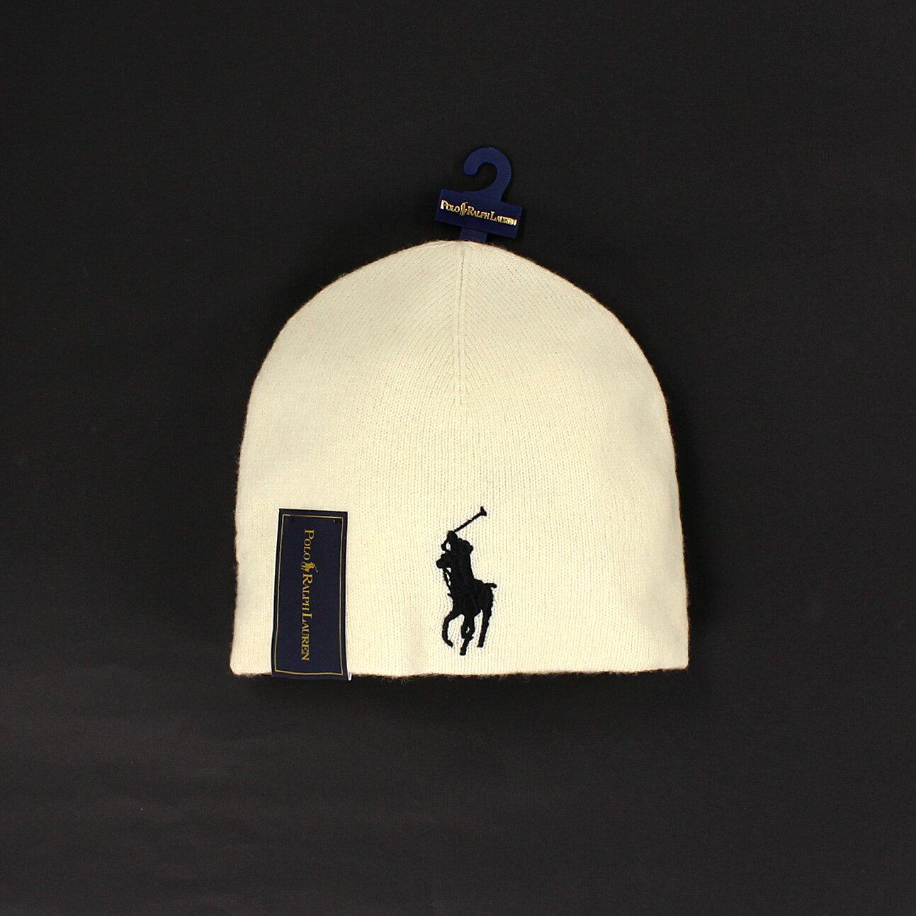 美國百分百【全新真品 】Ralph Lauren 帽子 RL 配件 毛帽 Polo 大馬 米白 純羊毛 保暖 柔軟 男