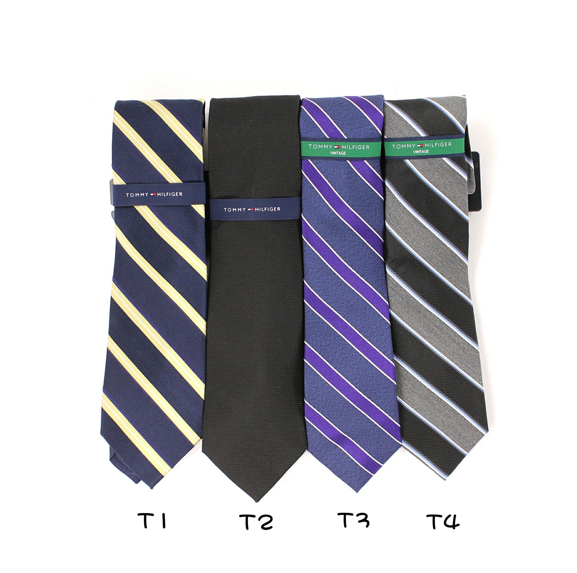 美國百分百【全新真品 】Tommy Hilfiger 領帶 TH 配件 領結 藍 紫 黑 灰 條紋 線條 上班 絲綢 男