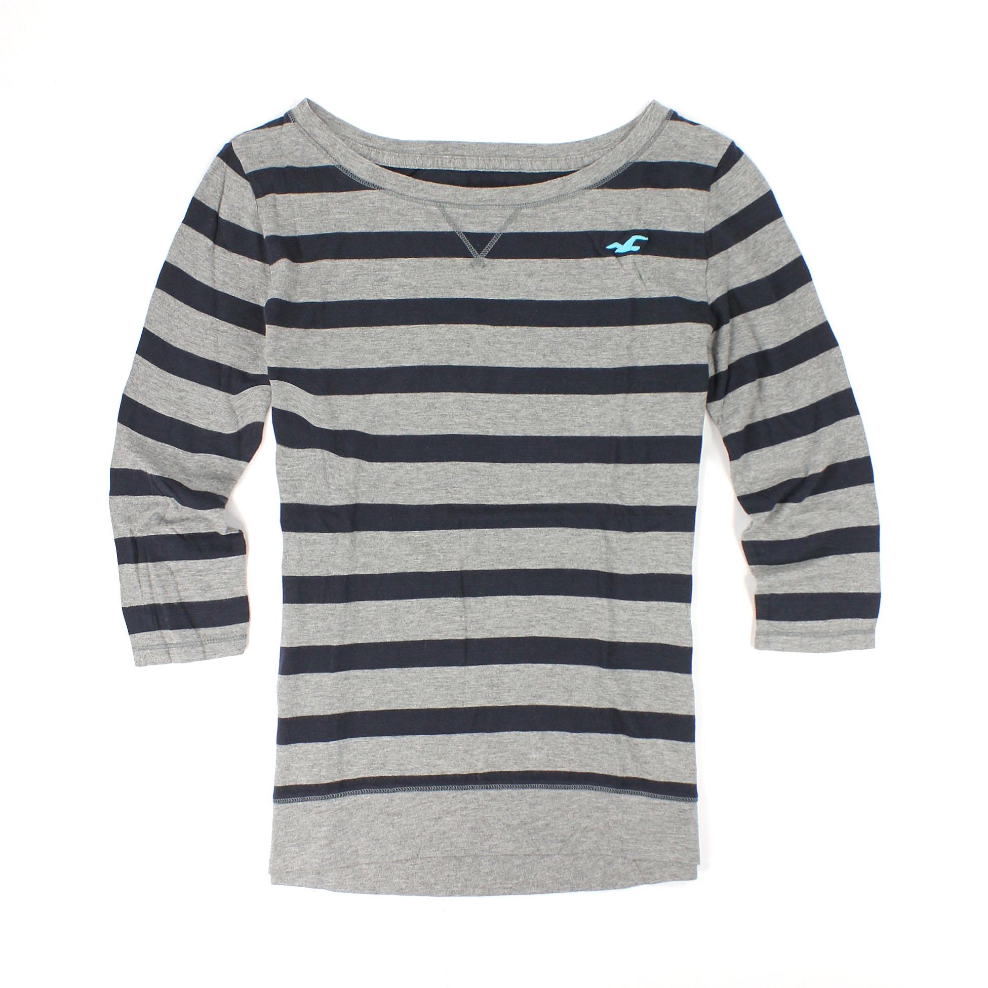 美國百分百【全新真品】Hollister Co. T恤 HCO 上衣 長袖 T-shirt 海鷗 灰 條紋 假V領 七分袖 女 XS S M號
