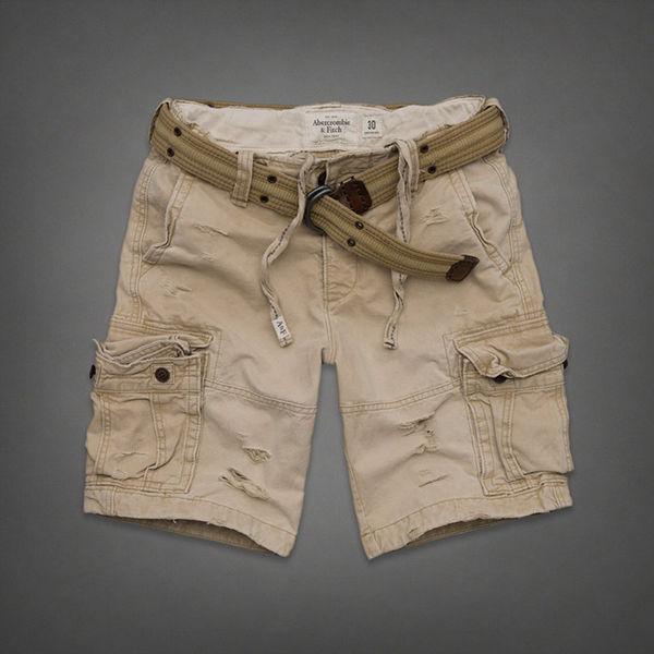 美國百分百【全新真品 】Abercrombie & Fitch 褲子 AF 短褲 五分褲 Cargo 麋鹿 卡其 皮帶 男 31 32腰