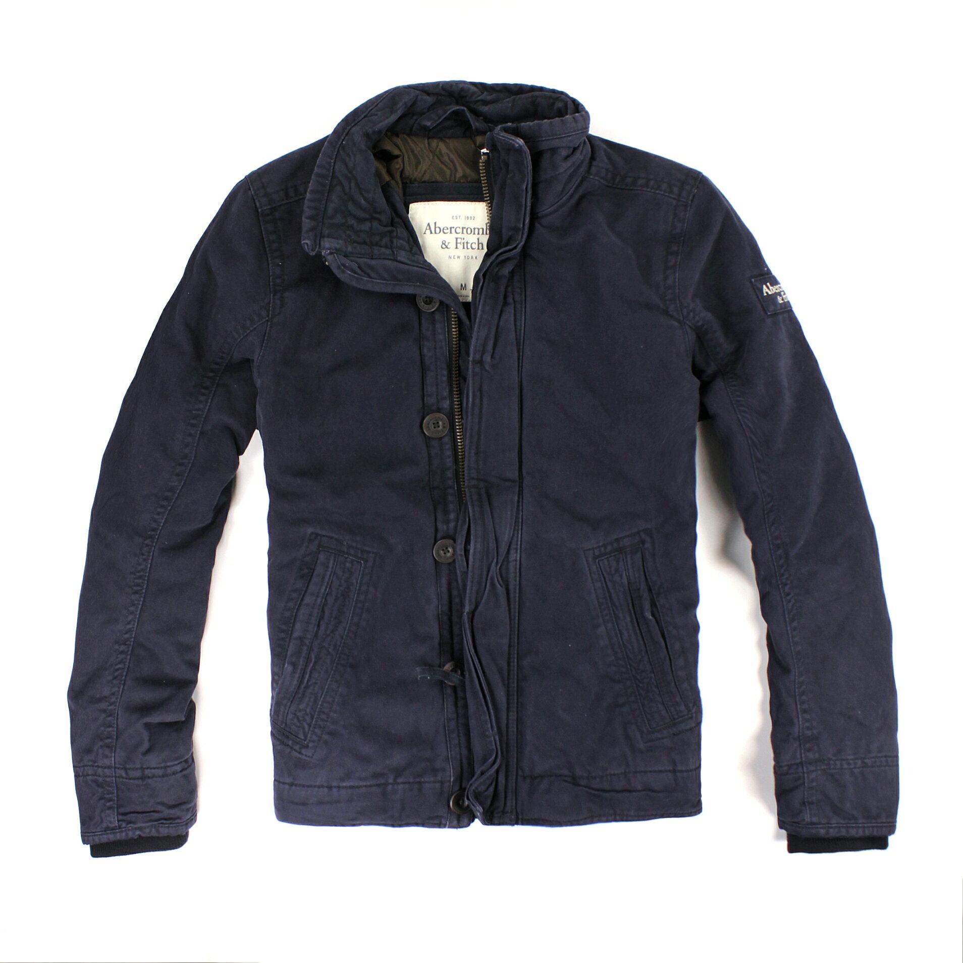 美國百分百【全新真品】Abercrombie & Fitch 外套 AF 夾克 軍裝 軍外套 麋鹿 深藍 鋪棉 硬挺 男 M L號 B804