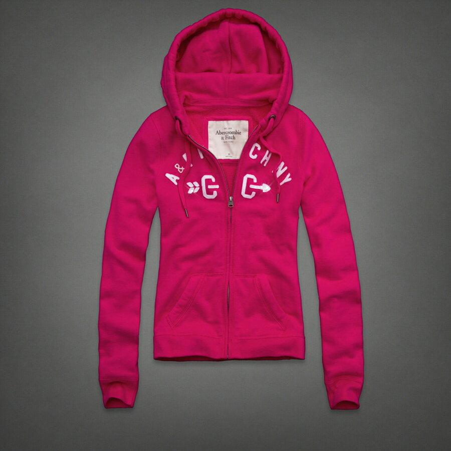 美國百分百【全新真品】Abercrombie & Fitch 外套 AF 連帽外套 夾克 麋鹿 桃紅 亮片 女衣 M號 B814