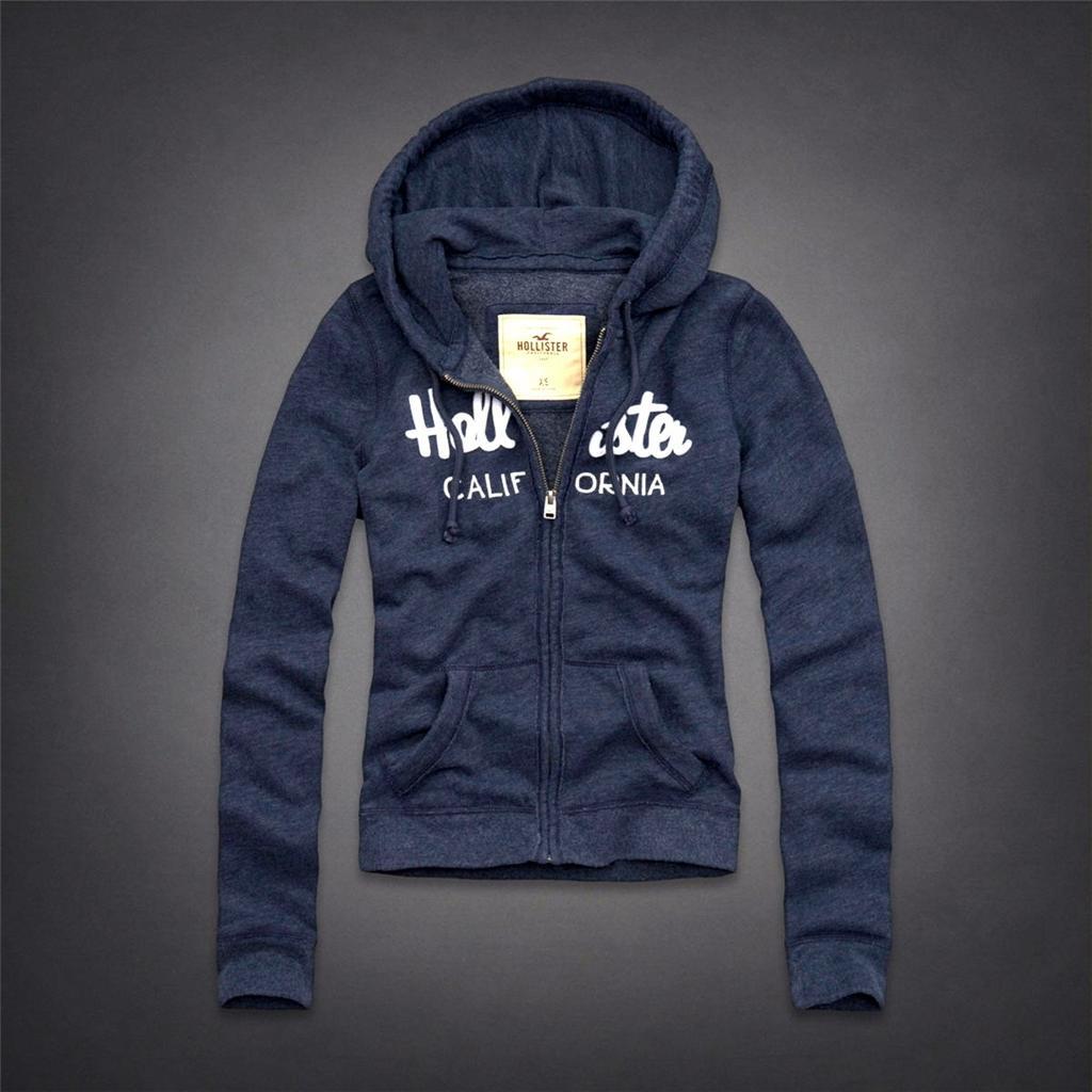 美國百分百【全新真品】Hollister Co. 外套 HCO 連帽外套 夾克 海鷗 深灰 數字 棉質 拼布 女 L B818