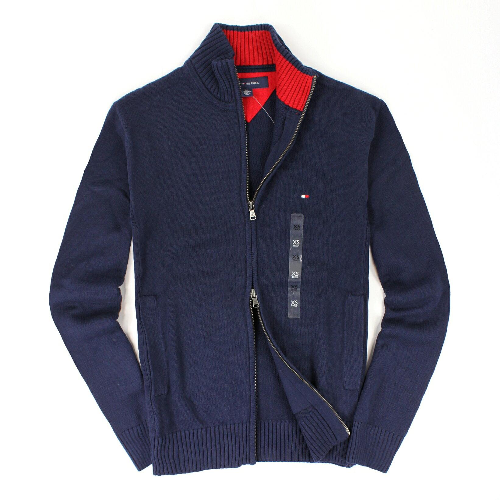 美國百分百【全新真品】Tommy Hilfiger 外套 TH 針織衫 長袖 深藍 素面 雙頭拉鍊 純棉 男 XS S號
