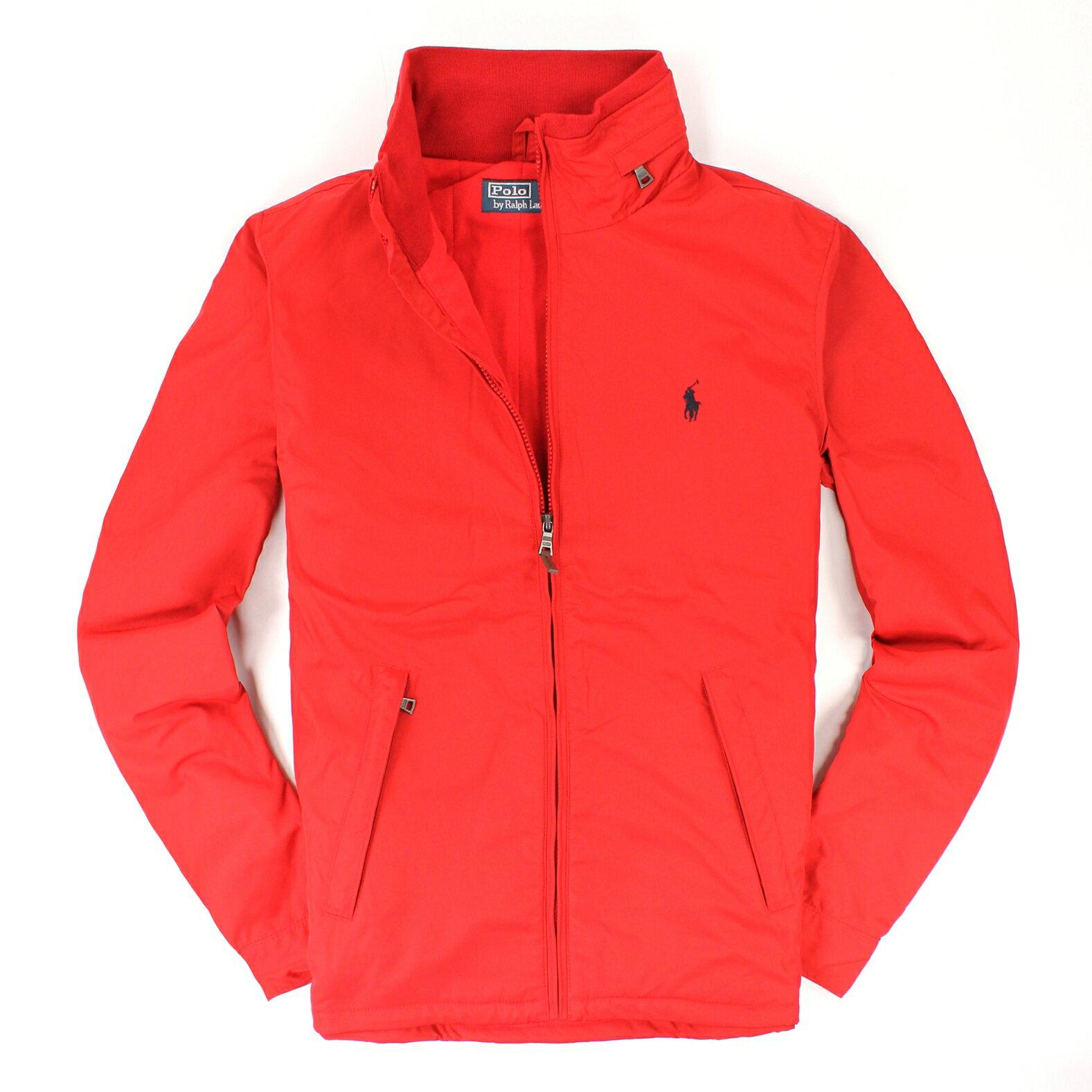 美國百分百【全新真品】Ralph Lauren 外套 RL 連帽 夾克 上衣 Polo 小馬 紅 皮革 鋪棉 防風 男 M號