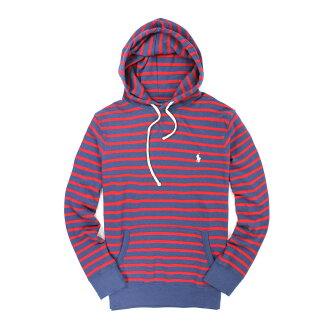 美國百分百【全新真品】Ralph Lauren 帽T RL 連帽T恤 外套 長袖 polo 小馬 紅藍 假V領 條紋 男 L號