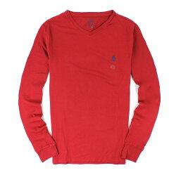 美國百分百【全新真品】Ralph Lauren T恤 RL 長袖 t-shirt v領 polo 小馬 酒紅 素面 純棉 男衣 s號