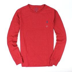 美國百分百【全新真品】Ralph Lauren T恤 RL 長袖 t-shirt 圓領 polo 小馬 酒紅 素面 純棉 男衣 s號