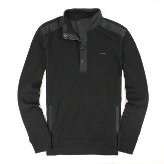 美國百分百【全新真品】Calvin Klein 針織衫 CK 線衫 半拉 長袖 T恤 厚 黑 素面 logo 男 M號 A648